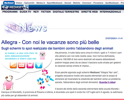 """Allegra, Yes I am"" su Mediaset"